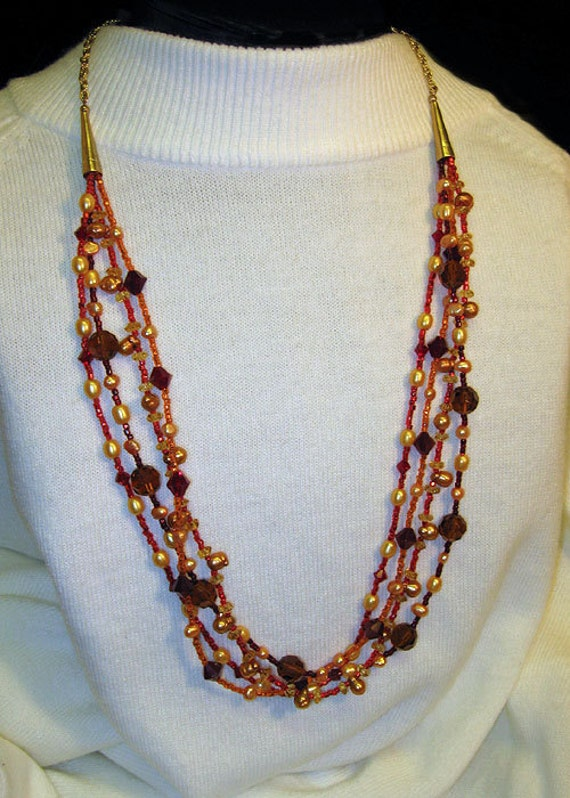 Pearl Jewelry, Red Hot and Gold Crystal and Pearl Necklace, Handmade Pearl and Crystal Multi Strand Statement Necklace