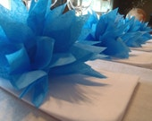 10 Fiesta Blue Paper Dahlia Napkin Rings. Perfect for weddings, receptions, baby showers, dinner parties. Tissue paper pom pom flowers.