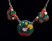 1930s Deco Enamel Masquerade Pierrot Balls & Bubble Necklace Sterling