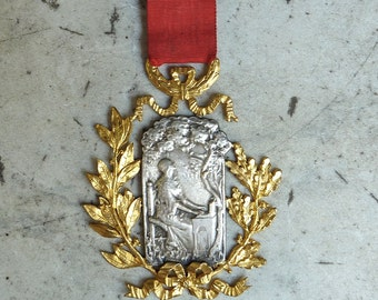 Early 1900s French Musical Medal Saint Cecilia Lady Playing a Harpsichord Under Trees