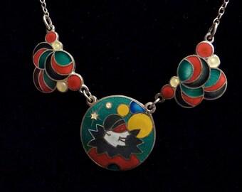 1930s Deco Enamel Masquerade Pierrot Balls & Bubble Necklace Sterling
