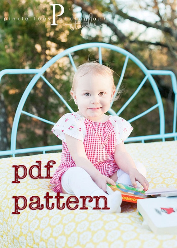 Instant Download - PDF Playdate Peasant Dress Pattern for Babies, Toddlers and Girls Sizes 6-9m, 12-18m, 2t, 3t, 4t, 5t, 6 & 7
