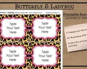 INSTANT DOWNLOAD- EDITABLE- Printable Leopard and Pink Tags/ Stickers/ Labels Great for Labels, Journaling, Buffet or Food Cards, Favor Tag