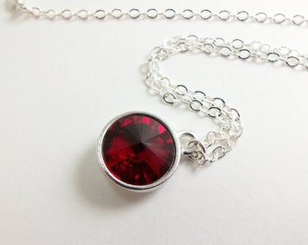Red Necklace January Birthstone Jewelry Garnet Red Necklace Birthstone Necklace Sterling Silver Crystal Pendant Rivoli