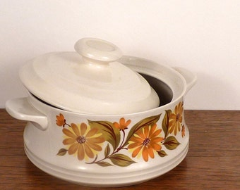 Vintage Ceramic Casserole and Lid - Yellow orange mums Flower floral pattern Kitchen Capri Bake Serve'n Store J.M.P. Made in Japan, 2 pts IN