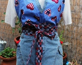 SALE Plus Size July 4th Apron / Upcycled Denim / Halter Top / Red White Blue Patriotic - One of a Kind