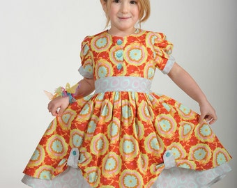 Girls Vintage Inspired Dress, Girls Dresses,  Girls Clothing, Toddler dresses, Birthday Party Dress, red, Size 2 3 4 5 6 7 8 10