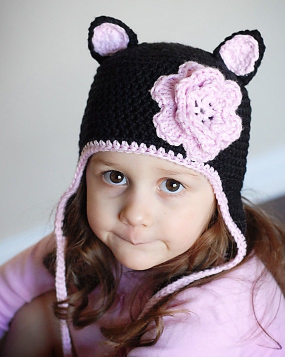 Cat Earflap Hat Crochet Pattern *Instant Download* (Permission to sell all finished products)