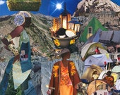 Mirlande Haiti. Tent City. Haitian Art. Women. Goddess. 11 inches x 14 inches Collage Print