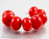 Maraschino Red Lampwork Spacer Beads, Glass, Poppy, Handmade SRA