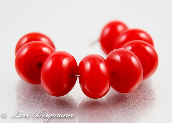 Maraschino Red Lampwork Spacer Beads, Glass, Poppy, Handmade SRA