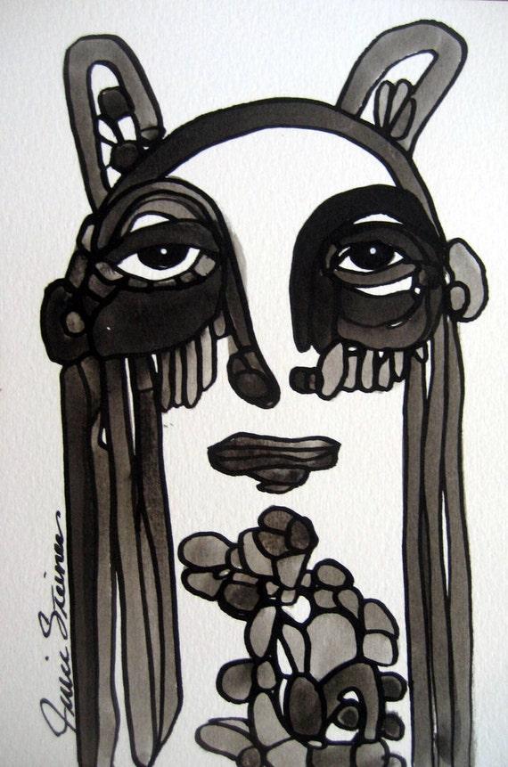 Whimsical Folk Original Black and White Ink Illustration Painting Julie Steiner  Bunny Girl