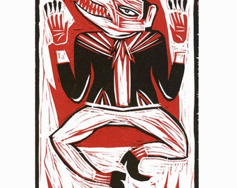 """Woodcut Relief, """"Prophets of Tomorrow"""", hand carved and hand printed, Limited Edition"""