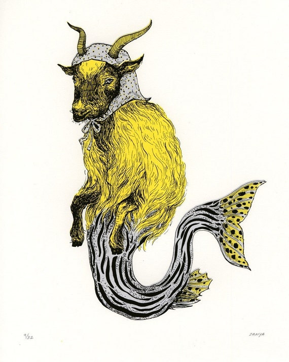RESERVED! - CAPRICORN Zodiac Sea-Goat, Screenprint, Hand-printed, Limited Ed.-- do not buy!