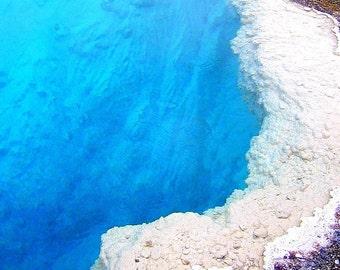 Turquoise Geothermal Pool Wyoming Yellowstone Geyser Deep Aqua Water Nature Cabin Rustic Lodge Photograph
