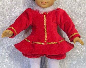 Doll Clothes Ice Skating Dress, Red Velveteen  fits American Girl or other 18 inch Dolls