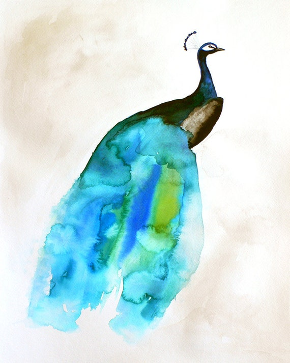 60% Off SALE - Peacock Painting - Feather - Bird Wall Art Watercolor - Peacock II - Large Print 16x20 - Poster