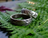 Silver textured wedding rings set: Marks of Time