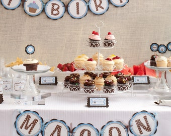 Boy Birthday Banner - Lil Cupcake HAPPY BIRTHDAY BANNER - Cupcake Party Decorations in Blue and Brown
