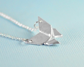 Origami Mini Butterfly Necklace - Small Silver Butterfly Origami Pendant - Dainty Silver Butterfly Necklace