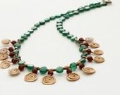 Green aventurine necklace red wine garnet necklace copper spiral swirl necklace handmade in Israel