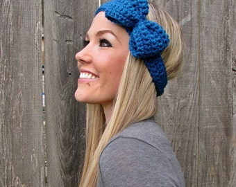Sapphire Blue Crochet Bow Headband w/ Natural Vegan Coconut Shell Buttons Adjustable Hair Band Girl Woman Teen Head Wrap Knit Accessories