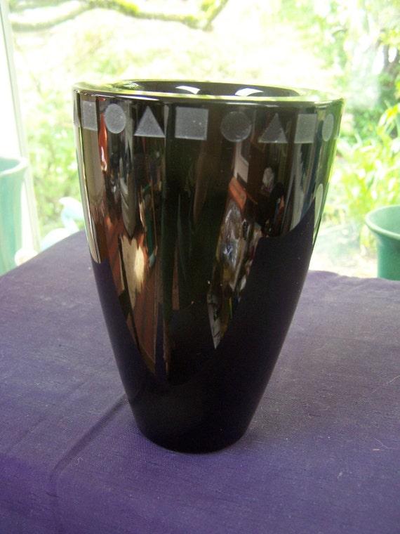 SALE Sasaki Ward Bennett Art Deco Black glass Vase Sengai Vintage handmade