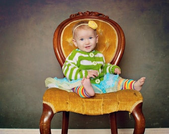 Childrens Clothing -- Baby Sweater, Hand Knit, Unisex -- PROSPECT STREET -- Green and White Striped Cardigan
