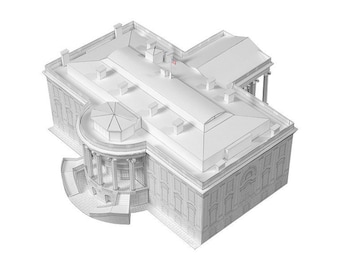 White House    office and residence of U.S. President    paper model kit    white color with a slightly shiny metallic overcoat
