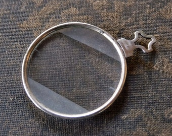 Antique Optical Optician SILVER Trial Lense FROSTED Diffused Edges