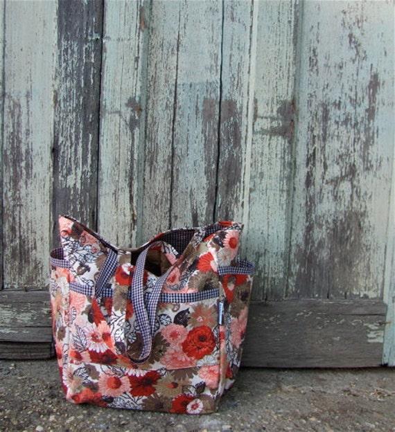 Granny's Gingham Blooms Weekender - Linen Floral Print - Diaper Bag / Market / Travel / Teacher Tote - Cottage Chic - Under 50 Gift - Pretty