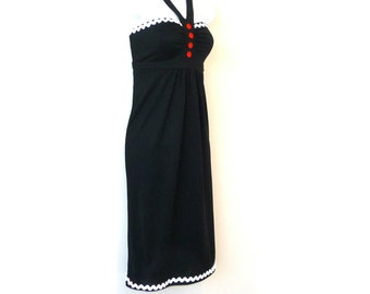 Halter Strapless Dress - Kenneth Cole - Black Silk Jersey - Stretch - LBD - White Rick Rack - Red Buttons - Sundress - UNIQUE - Nautical