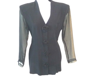 Retro Style - Black Long Jacket - Sheer Sleeves - Feminine - 1940s Style - 80s - Fitted - Elegant - Classic - Recycled - Body Hugging