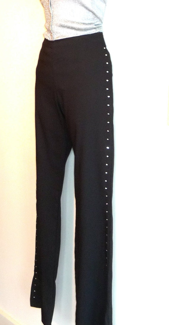 Tuxedo Black Pants - Rhinestone Side Leg Details - Retro 80s - New Years - Sz 8 - Tailored - Stretch - Country Western - Performer -Recycled