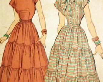 Vintage 40s Tiered Dress Cap Sleeves...Optional Shirtwaist and Tie Neckline.. Advance 4858 Bust 30