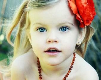 Orange Flower Headband, Rich Orange Flower w/ Jumbo Clear Rhinestone Center Stretchy Headband or Hair Clip, Newborn Baby Toddler Child Girl