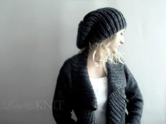 slouchy hat . dark grey slouchy hat . grey knit hat . grey baggy beanie . hand knit slouchy beanie . loose beanie hat . mens tam hat