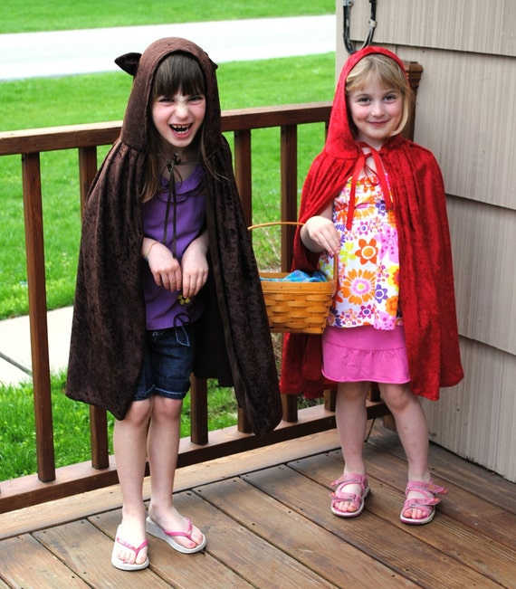 Set of 2 Child Red Riding Hood and Wolf Capes Handmade Toddler Child Kids