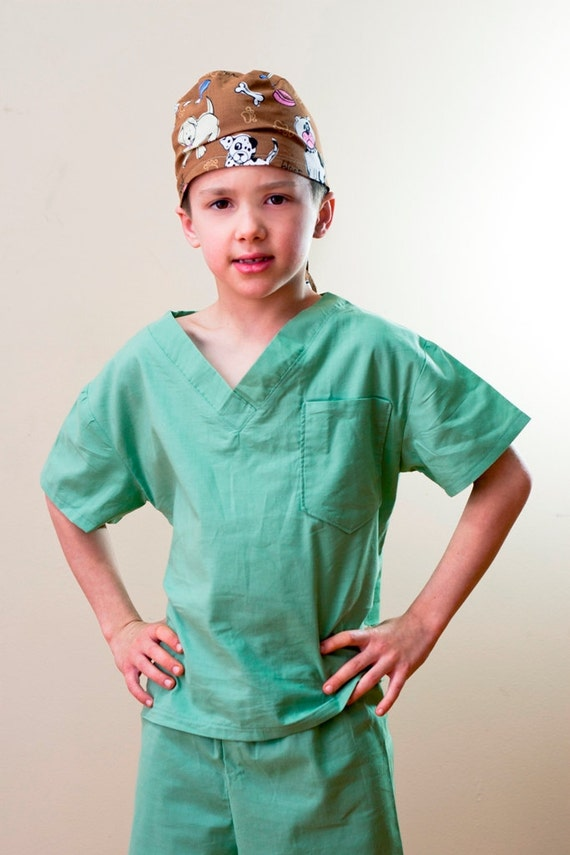 Children's Scrubs and Hat  Size 5 6 7or 8 custom made Costume Kids Child