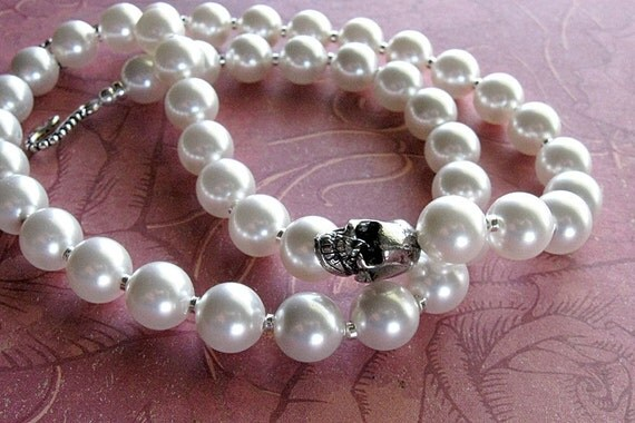 not your grandmother's pearls: Swarovski pearl necklace with skull, white ivory black, princess length, goth bride rockabilly skull jewelry