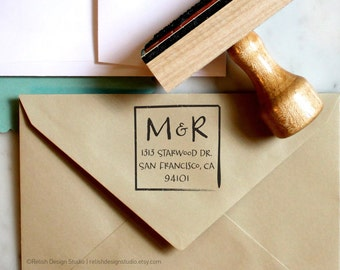 Personalized Address Stamp Square 112, Return Address Stamp with Initials, Monogrammed Stamp, Wedding Stamp, Couple Initial Stamp