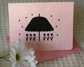 Silhouette Note Card Set of 4 - Raining Hearts