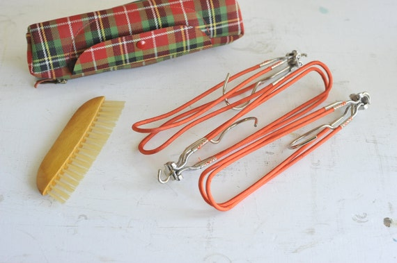 Travel Collapsible Hangers in Plaid Case with Clothes Brush By Hickok USA 1950s