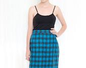 Sale - Buffalo Plaid Wool Skirt - Vintage Black & Deep Turquoise Plaid Check Pattern - L