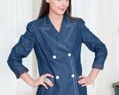 Designer Vintage Jacket - Nautical Denim Jacket Blazer - Cotton & Silk Blend - NOS - M