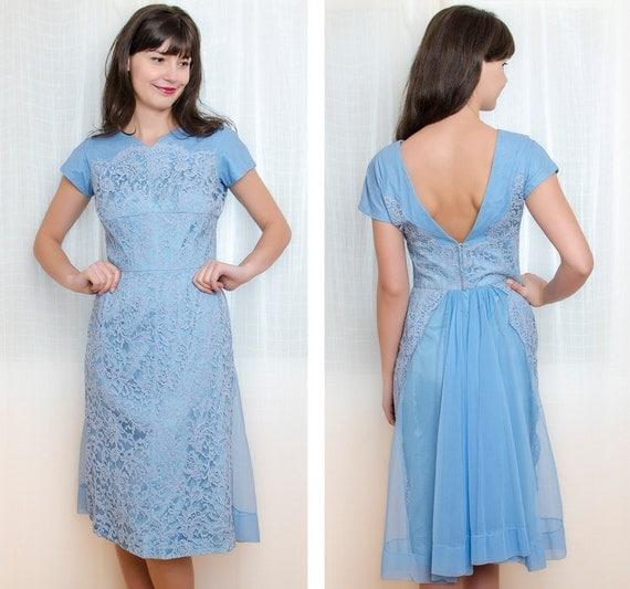 Blue Cocktail Dress - Vintage 1950s Lace Dress - 50s Cornflower Blue Dress - M
