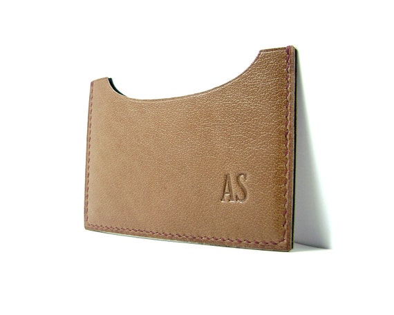 One left - Monogrammed Honey Brown Leather Card Case - personalized - horizontal