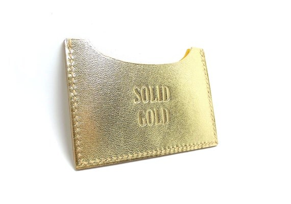 Gold digger, Leather Wallet, id Metro Credit Card Case, Solid Gold, Hand Stitched, Fake Gold, Yellow, Sakao on Etsy