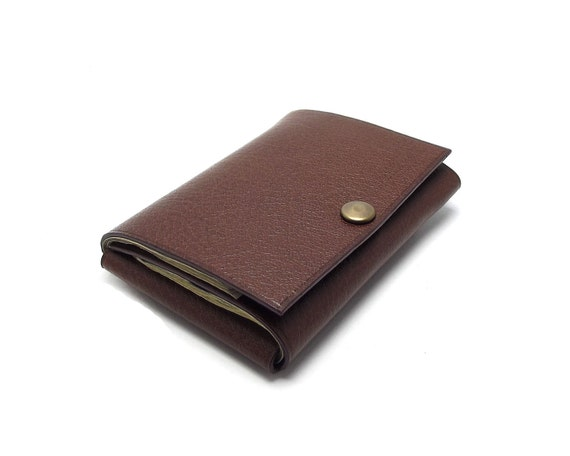 Simple Fold Leather Wallet, Chocolate Brown, Minimalist, Practical, Compact, Small