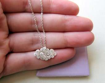 Sterling silver cloud necklace, Silver rain necklace, Silver cloud pendant